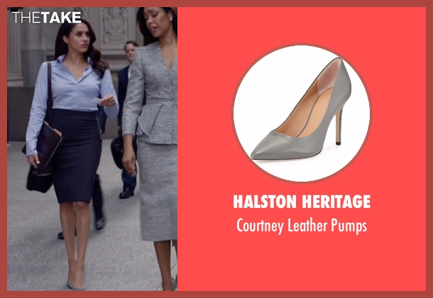 Halston Heritage gray pumps from Suits seen with Rachel Zane (Meghan Markle)