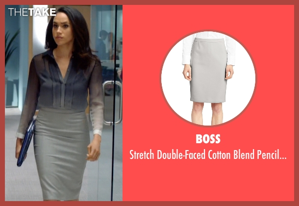 Boss gray skirt from Suits seen with Rachel Zane (Meghan Markle)