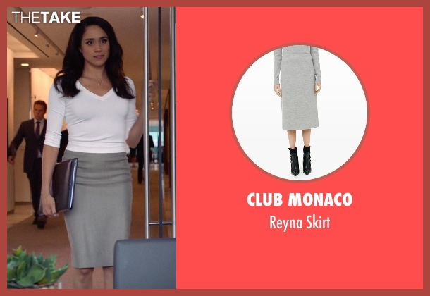 Club Monaco gray skirt from Suits seen with Rachel Zane (Meghan Markle)