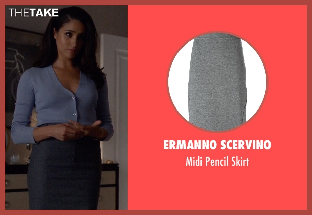 Ermanno Scervino   gray skirt from Suits seen with Rachel Zane (Meghan Markle)