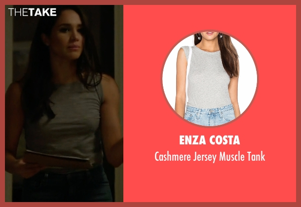 Enza Costa gray tank from Suits seen with Rachel Zane (Meghan Markle)