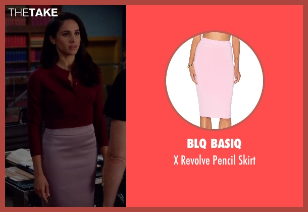 BLQ Basiq pink skirt from Suits seen with Rachel Zane (Meghan Markle)