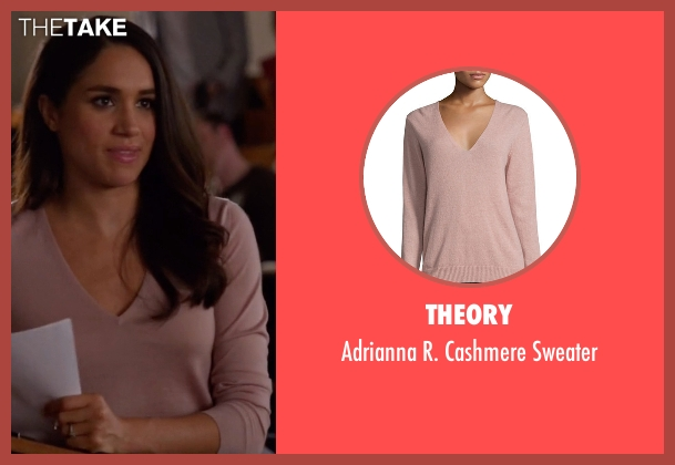 Theory pink sweater from Suits seen with Rachel Zane (Meghan Markle)