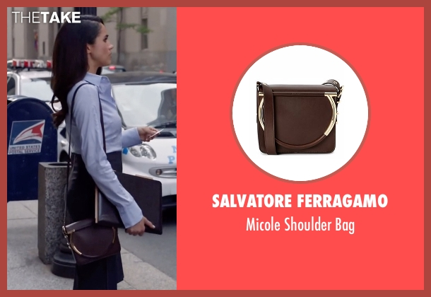 Salvatore Ferragamo purple bag from Suits seen with Rachel Zane (Meghan Markle)