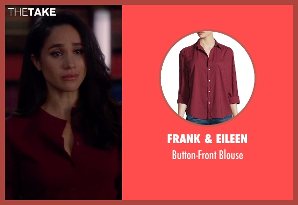 Frank & Eileen red blouse from Suits seen with Rachel Zane (Meghan Markle)