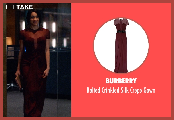 Burberry red gown from Suits seen with Rachel Zane (Meghan Markle)