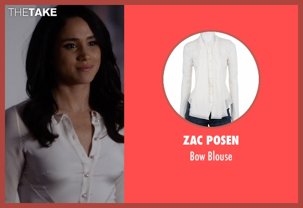 Zac Posen white blouse from Suits seen with Rachel Zane (Meghan Markle)