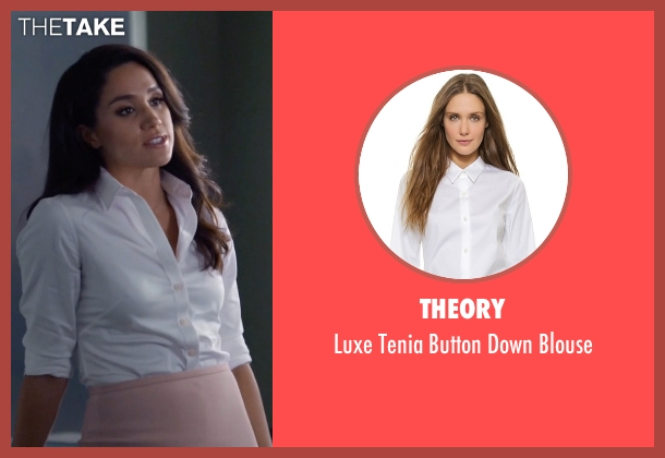Theory white blouse from Suits seen with Rachel Zane (Meghan Markle)