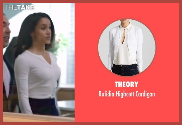 Theory white cardigan from Suits seen with Rachel Zane (Meghan Markle)
