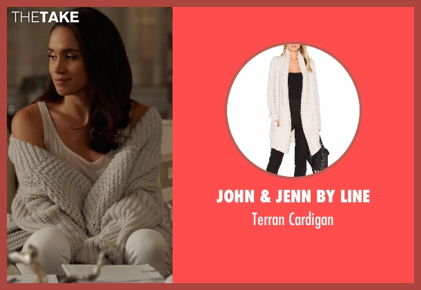 John & Jenn By Line white cardigan from Suits seen with Rachel Zane (Meghan Markle)
