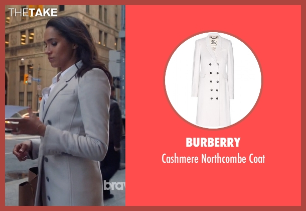 Burberry white coat from Suits seen with Rachel Zane (Meghan Markle)