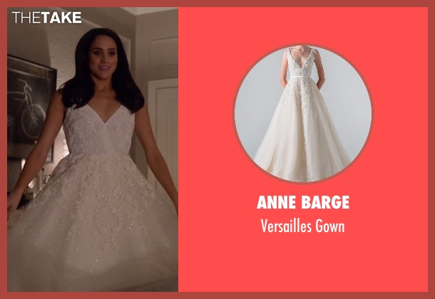 Anne Barge white gown from Suits seen with Rachel Zane (Meghan Markle)