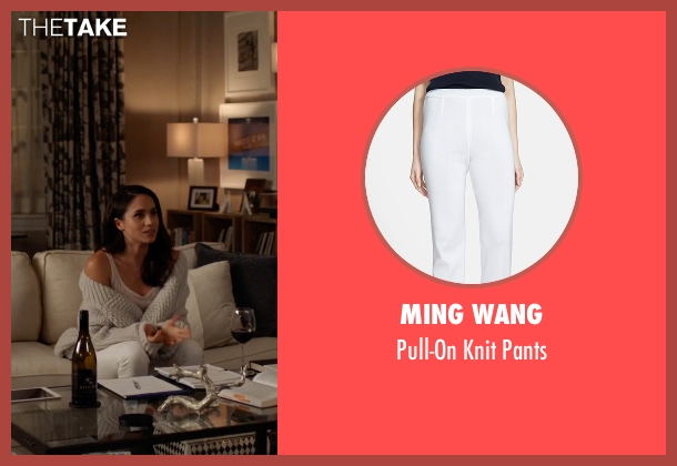 Ming Wang white pants from Suits seen with Rachel Zane (Meghan Markle)