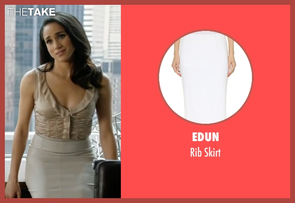 Edun white skirt from Suits seen with Rachel Zane (Meghan Markle)