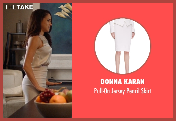Donna Karan white skirt from Suits seen with Rachel Zane (Meghan Markle)