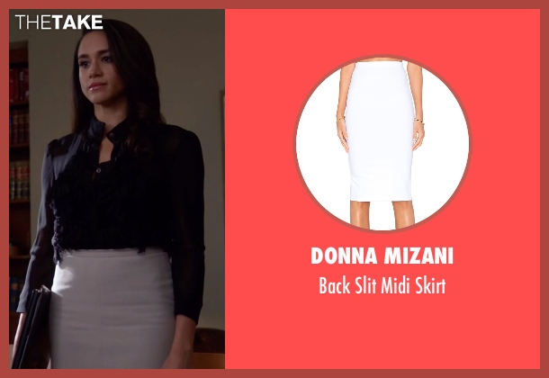 Donna Mizani white skirt from Suits seen with Rachel Zane (Meghan Markle)