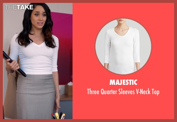 Majestic white top from Suits seen with Rachel Zane (Meghan Markle)