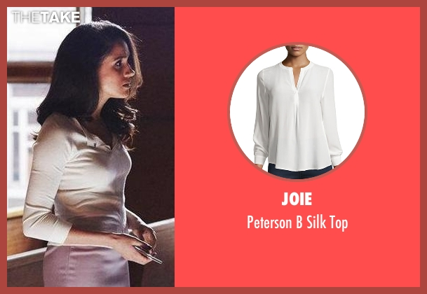 Joie white top from Suits seen with Rachel Zane (Meghan Markle)