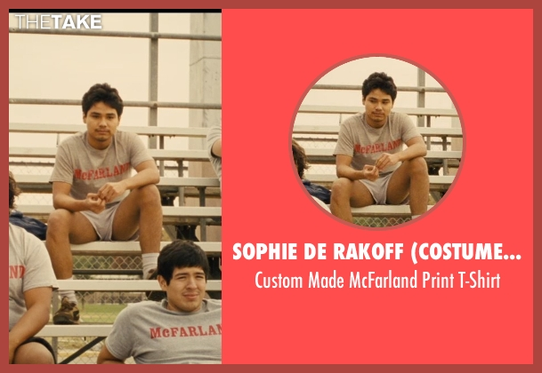 Sophie De Rakoff (Costume Designer) gray t-shirt from McFarland, USA seen with Rafael Martinez (David Diaz)