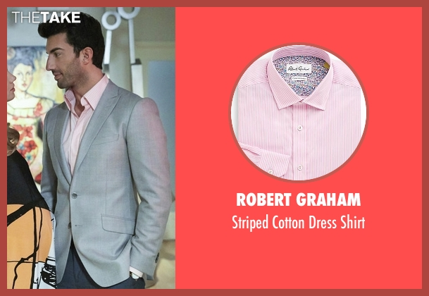 Robert Graham pink shirt from Jane the Virgin seen with Rafael Solano (Justin Baldoni)
