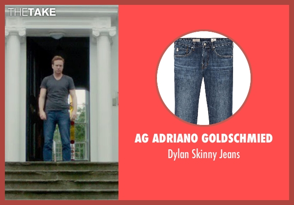 AG Adriano Goldschmied blue jeans from What If seen with Rafe Spall (Ben)
