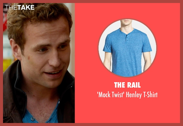 The Rail blue t-shirt from What If seen with Rafe Spall (Ben)