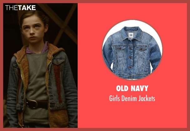 Old Navy blue jackets from Tomorrowland seen with Raffey Cassidy (Athena)