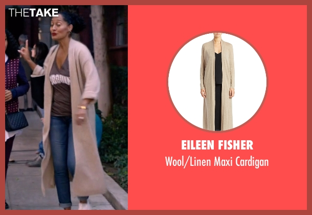 Eileen Fisher beige cardigan from Black-ish seen with Rainbow Johnson (Tracee Ellis Ross)