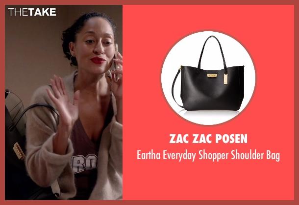 ZAC Zac Posen black bag from Black-ish seen with Rainbow Johnson (Tracee Ellis Ross)