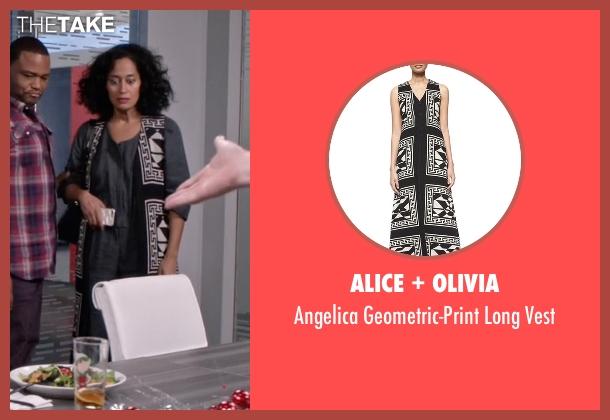 Alice + Olivia black vest from Black-ish seen with Rainbow Johnson (Tracee Ellis Ross)