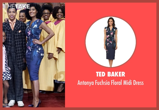 Ted Baker blue dress from Black-ish seen with Rainbow Johnson (Tracee Ellis Ross)