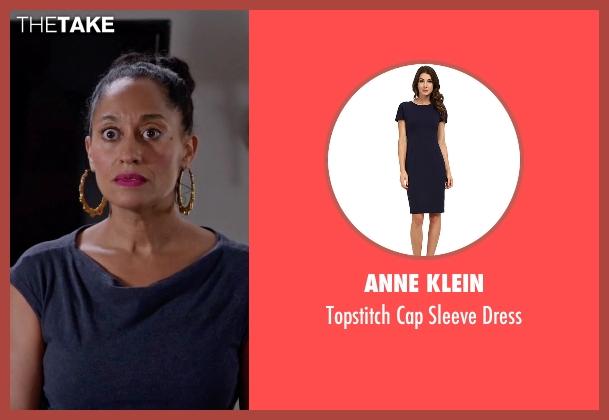 Anne Klein blue dress from Black-ish seen with Rainbow Johnson (Tracee Ellis Ross)