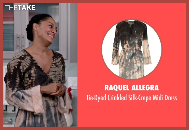 Raquel Allegra brown dress from Black-ish seen with Rainbow Johnson (Tracee Ellis Ross)