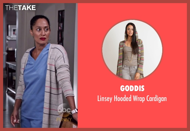 Goddis gray cardigan from Black-ish seen with Rainbow Johnson (Tracee Ellis Ross)