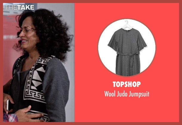 Topshop gray jumpsuit from Black-ish seen with Rainbow Johnson (Tracee Ellis Ross)