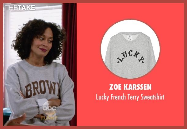 Zoe Karssen gray sweatshirt from Black-ish seen with Rainbow Johnson (Tracee Ellis Ross)