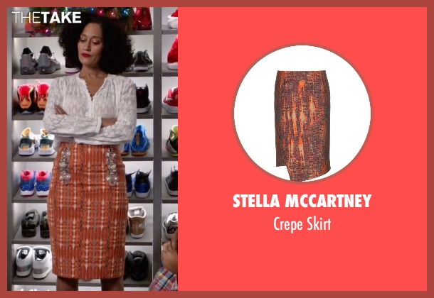 Stella McCartney orange skirt from Black-ish seen with Rainbow Johnson (Tracee Ellis Ross)