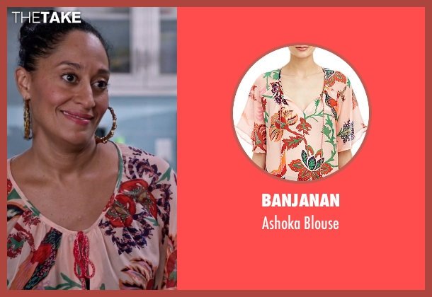 Banjanan pink blouse from Black-ish seen with Rainbow Johnson (Tracee Ellis Ross)