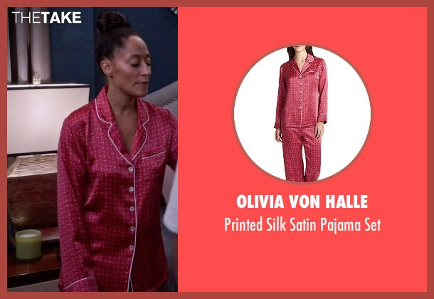 Olivia Von Halle pink set from Black-ish seen with Rainbow Johnson (Tracee Ellis Ross)