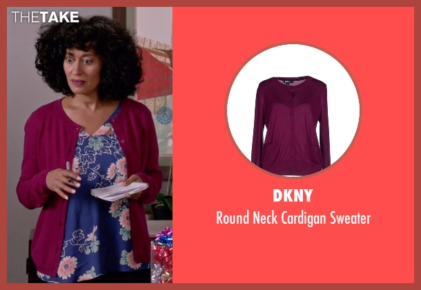 DKNY pink sweater from Black-ish seen with Rainbow Johnson (Tracee Ellis Ross)