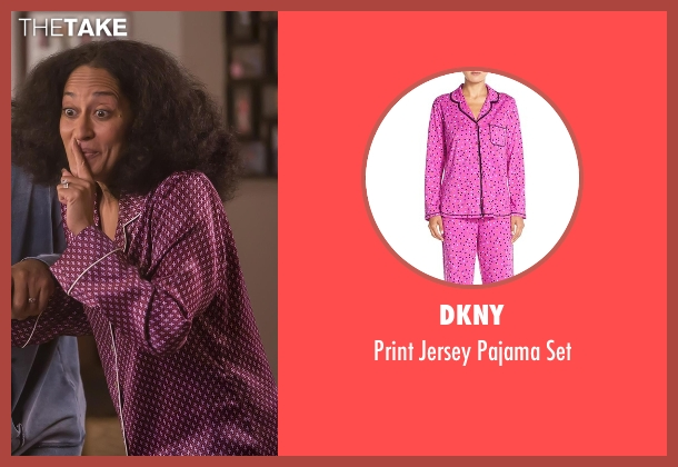 DKNY purple set from Black-ish seen with Rainbow Johnson (Tracee Ellis Ross)