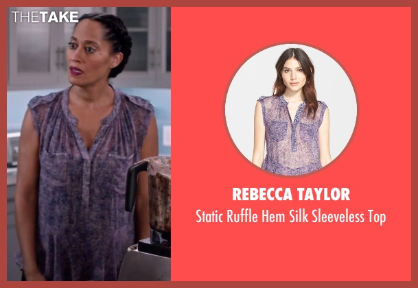 Rebecca Taylor purple top from Black-ish seen with Rainbow Johnson (Tracee Ellis Ross)