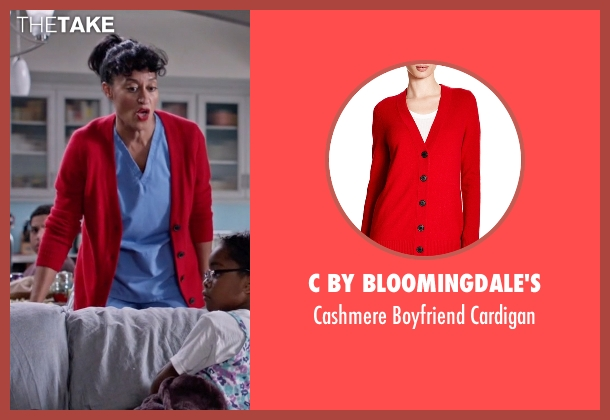 C by Bloomingdale's red cardigan from Black-ish seen with Rainbow Johnson (Tracee Ellis Ross)