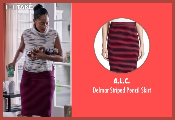 A.L.C. red skirt from Black-ish seen with Rainbow Johnson (Tracee Ellis Ross)