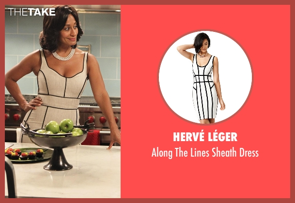 Hervé Léger white dress from Black-ish seen with Rainbow Johnson (Tracee Ellis Ross)