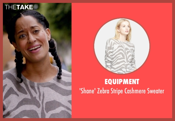 Equipment white sweater from Black-ish seen with Rainbow Johnson (Tracee Ellis Ross)