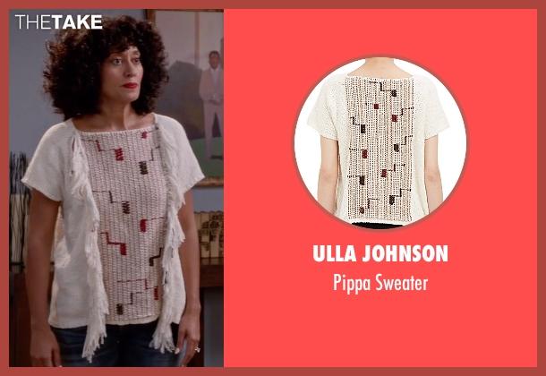 Ulla Johnson white sweater from Black-ish seen with Rainbow Johnson (Tracee Ellis Ross)