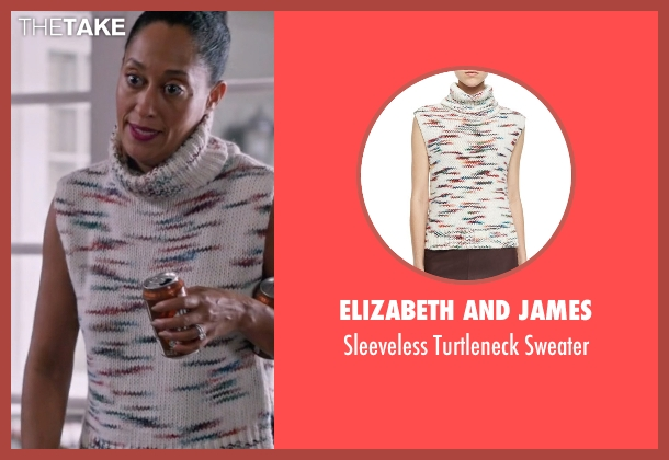 Elizabeth and James white sweater from Black-ish seen with Rainbow Johnson (Tracee Ellis Ross)
