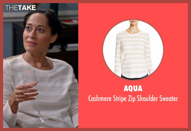 Aqua white sweater from Black-ish seen with Rainbow Johnson (Tracee Ellis Ross)