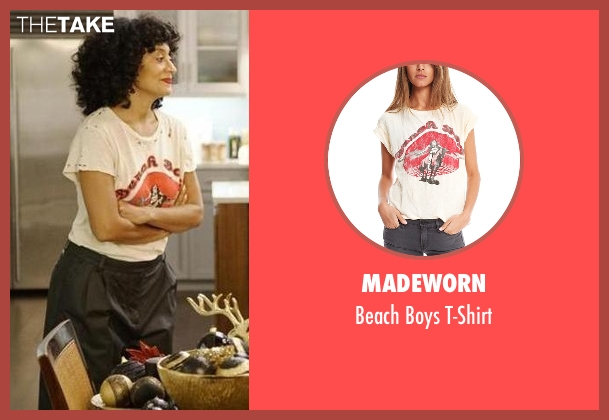 MadeWorn white t-shirt from Black-ish seen with Rainbow Johnson (Tracee Ellis Ross)